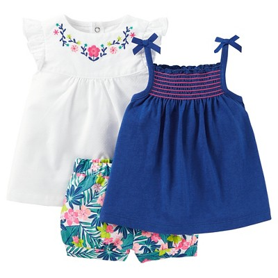 Just One You™Made by Carter's® Baby Girls' 3 Piece Floral Set - Blue/White NB