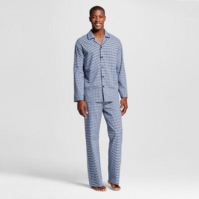 Men's Pajama Set Blue Gingham L -  Merona™