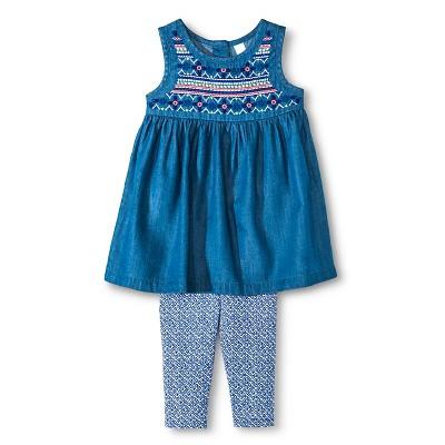 Baby Girls' Denim Top and Legging Pant Set Blue 12M - Cherokee®