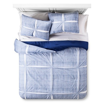 Linework Comforter Set (Full/Queen) Blue 3pc - Room Essentials™