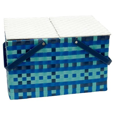 Summer Large Picnic Basket Blue/Teal