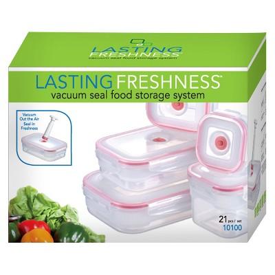 Lasting Freshness Vacuum Seal Food Storage System Set Rectangular 21pc