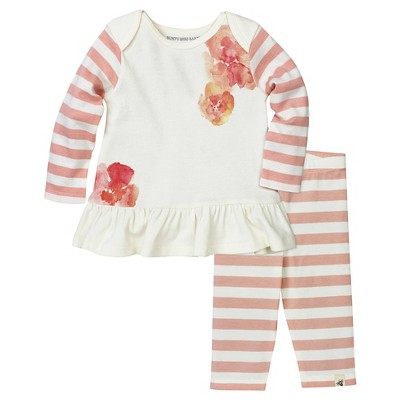 Burt's Bees Baby Infant Girls' Tunic & Capri Legging - 0-3M Floral/Striped