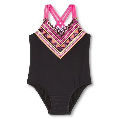 Baby Girls' Tribal Design One Piece Swimsuit Black 9M - Circo™