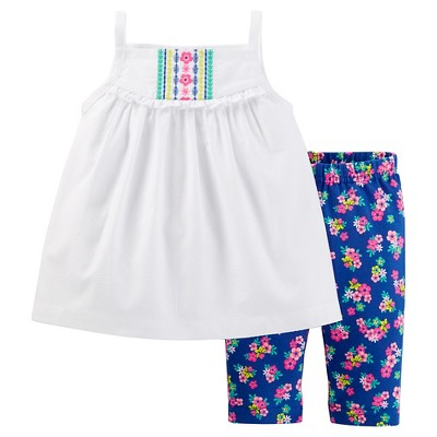 Just One You™Made by Carter's® Baby Girls' Tank and Floral Capri Set - White/Blue 3M