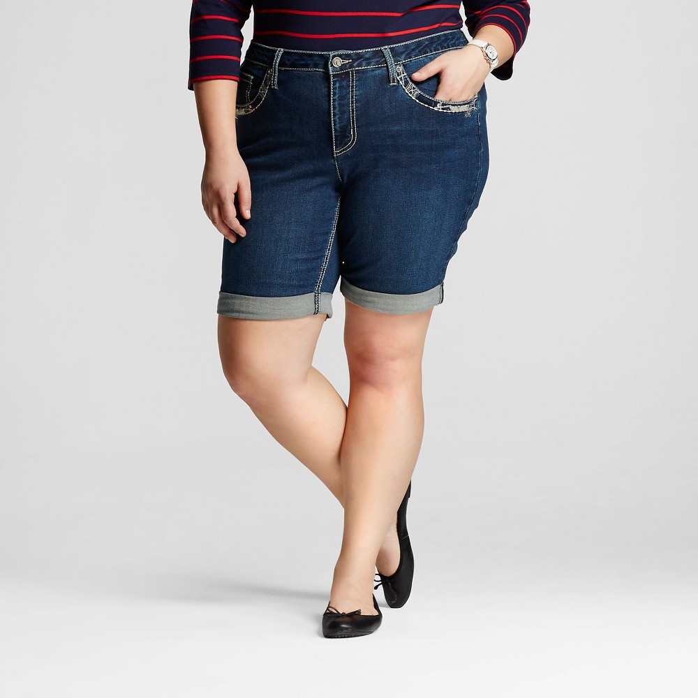 "Women's Plus Size 9"" Bermuda Short Dark Rinse  - Earl Jeans"