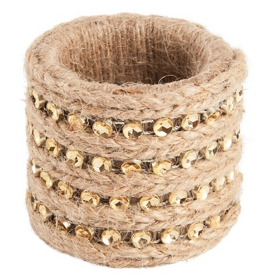 Jute with Studs Napkins Rings - Gold (Set of 4)