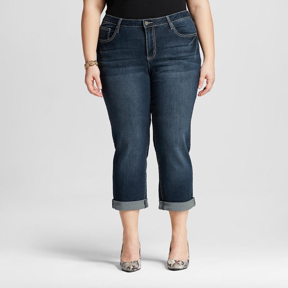 Women's Plus Size Roll Cuff Capri Light Wash  - Earl Jeans, Dark Wash