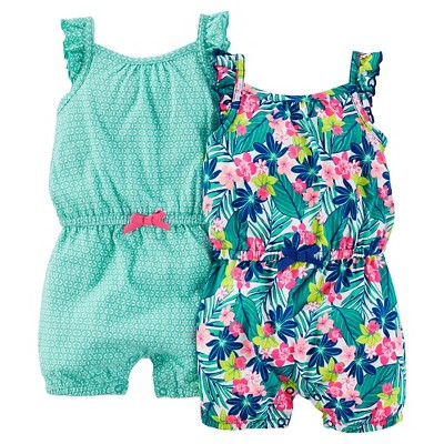 Just One You™Made by Carter's® Baby Girls' 2 Pack Tropical Print Rompers - Teal/Blue 6M