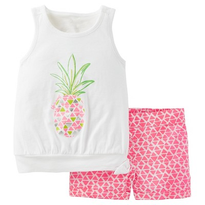 Just One You™Made by Carter's® Toddler Girls' 2pc Pink Pineapple Short Set 18 M
