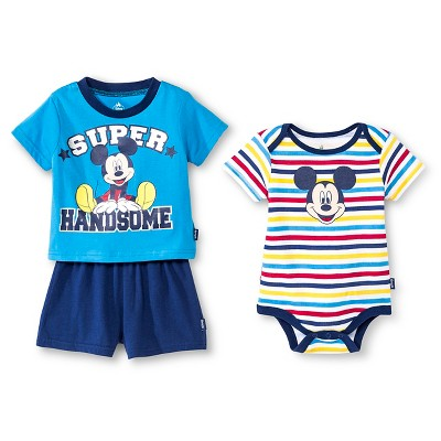 Mickey Mouse Newborn Boys' 3 Piece Bodysuit, Top & Short Set - 6-9M Blue