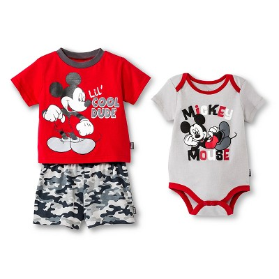 Mickey Mouse Newborn Boys' 3 Piece Bodysuit, Top & Short Set - 6-9M Red