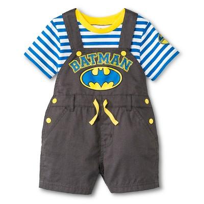 Batman Newborn Boys' 2 Piece Romper Set - 3-6M Grey