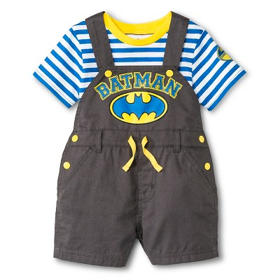 Batman Newborn Boys' 2 Piece Romper Set - 6-9M Grey