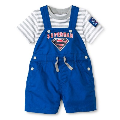 Superman Newborn Boys' 2 Piece Romper Set - 6-9M Blue