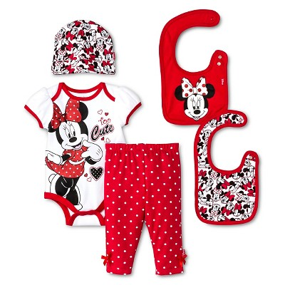 Disney Minnie Mouse Baby Girls' 5 Piece Set - White 0-6 M