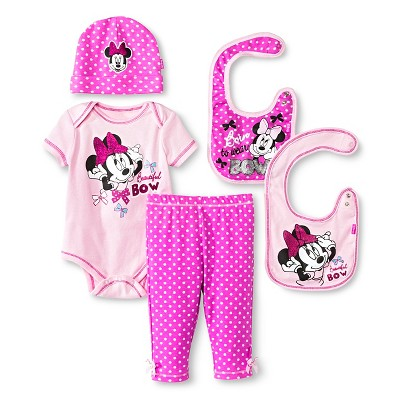Disney Minnie Mouse Baby Girls' 5 Piece Set - Pink 0-6 M