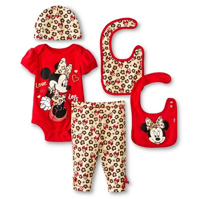 Disney Minnie Mouse Baby Girls' 5 Piece Set - Red 0-6 M