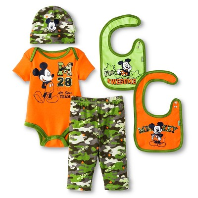 Disney Mickey Mouse Baby Boys' 5 Piece Set - Orange 0-6 M