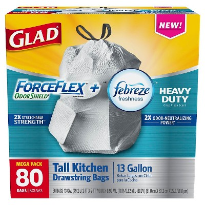Glad ForceFlex Odor Shield Heavy Duty Tall Kitchen Drawstring Trash Bags 13 gallon 80 ct