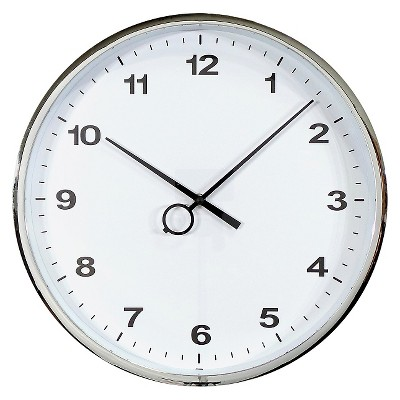 "Wall Clock Silver with Black Trim 16"" - Threshold™"