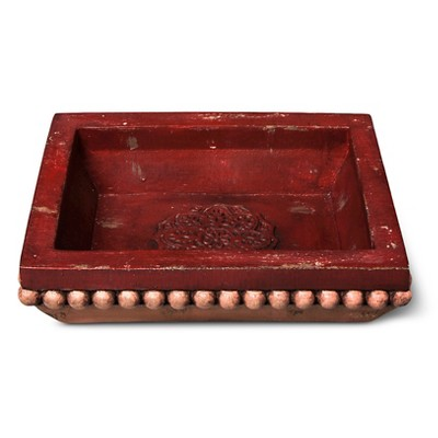 Boho Boutique™ Carved Polyresin Tray - Orange