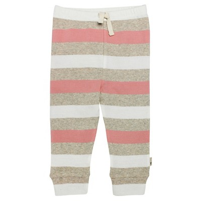 Burt's Bees Baby Girls' Striped Drawstring Pant - Heather Grey 12M