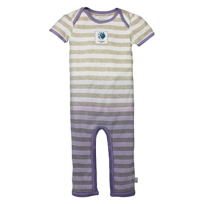 Burt's Bees Baby Infant Girls' Dip Dye Coverall - 0-3M Striped/Hydrangea