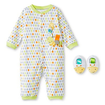 Taggies Coverall Set with Novelty Slipper - White/Lime 3 M