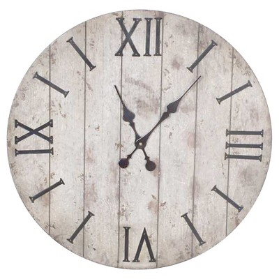 "Wall Clock White Washed Wood 24"" - Threshold™"