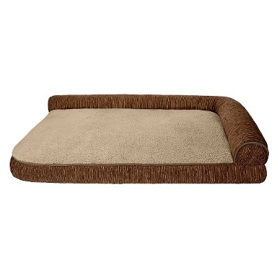 "Toby Right Angle Bolster Auburn/Taupe Lounger Pet Bed (48x30"")"