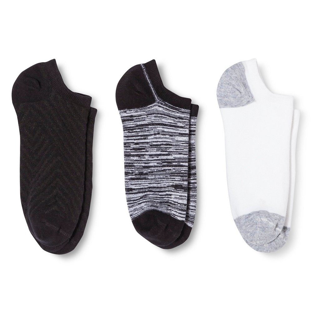 Women's Low-Cut Socks 3-Pack Black Texture One Size - Merona, Multi-Colored