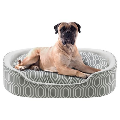 Miley Fretwork Grey/Ivory Oval Cuddler Pet Bed with Cushion (24x36 )