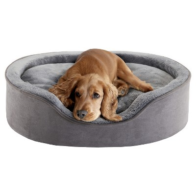 "Milo Oval Grey Cuddler Pet Bed with Cushion (21x27+7"")"