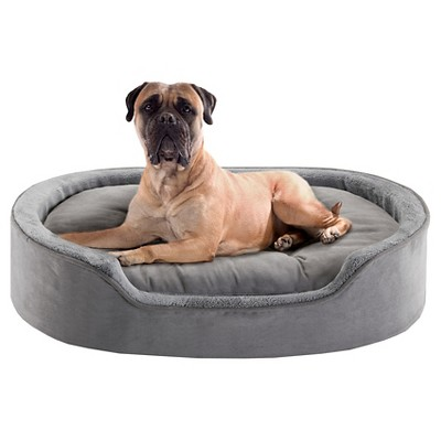 "Milo Oval Grey Cuddler Pet Bed with Cushion (24x36+7"")"