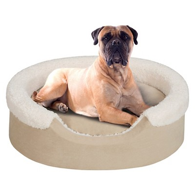 "Lucky Oval Tan/Ivory Pet Cuddler with Cushion (36x24"")"