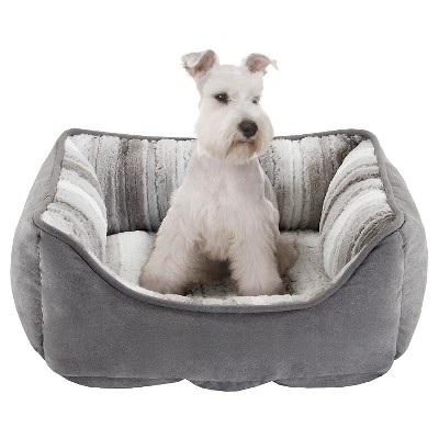 "Buster Reversible Rectangular Grey/Multi Color Pet Cuddler (21x25+10"")"