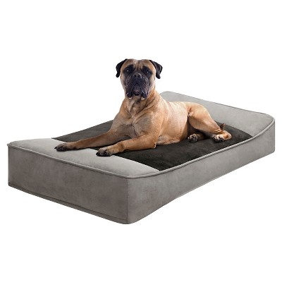 "Shadow Pillow Top Grey/Black Pet Stretch Lounger (24x42"")"