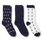 Women's Crew Socks 3-Pack Anchor Fresh White One Size - Merona™