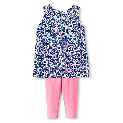 Baby Girls' Floral Top and Legging Pant Set Blue 12M - Cherokee®