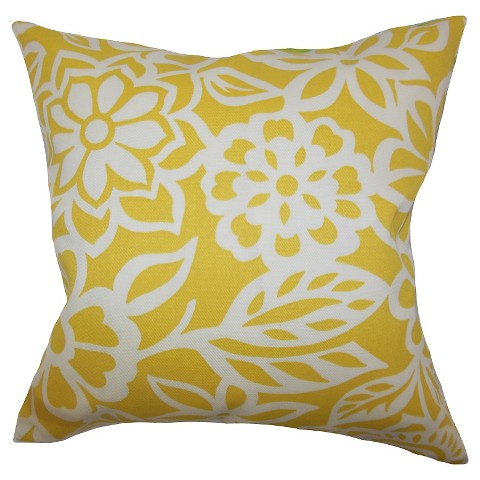 Floral Throw Pillow Yellow - The Pillow Collection : Target