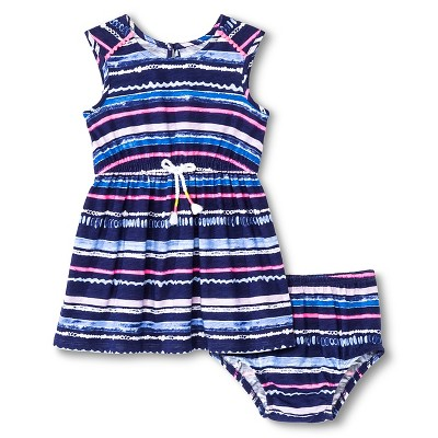 Baby Girls' Striped Sleeveless Dress Navy Blue 18M - Cherokee®