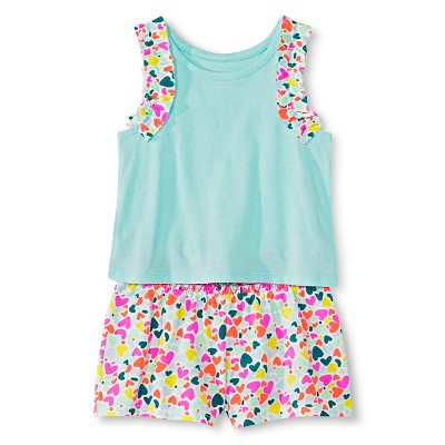 Baby Girls' Hearts Tank and Short Set Blue/Multicolored 12M - Circo™