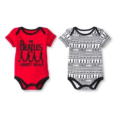 Beatles Newborn Boys' 2 Pack Bodysuit Set - 0-3M Red