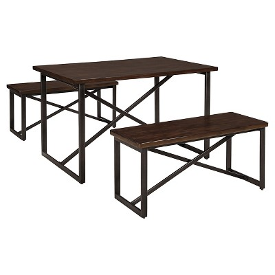 3 Piece Joring Rectangular Dining Room Table Set Metal/Dark Brown - Signature Design by Ashley