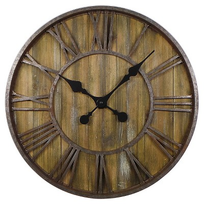 "Wood Wall Clock with Metal 23"" - Threshold™"