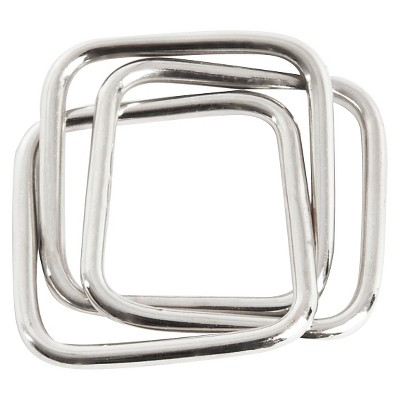 Three Squares Napkins Rings - Silver (Set of 4)