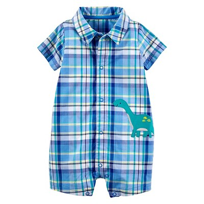 Just One You™Made by Carter's® Baby Boys' Plaid Dino Romper - Blue NB