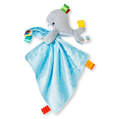 Taggies Security Blanket with Whale Plush - Gray/Blue