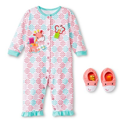 Taggies Coverall Set with Novelty Slipper - Turquoise/Pink 6 M